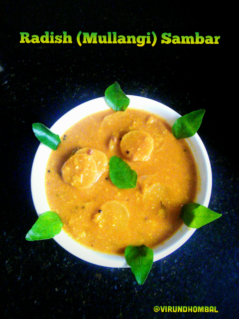 This is one of the easiest and tastiest South Indian Sambar made within 30 minutes. This dish is a speedy fix for your unplanned weekday lunch.Radish has many nutritional and health benefits. In this Sambar, also I have added coconut  small onions paste to enhance the taste. Radish sambar will reach the unique taste only if the radishes are sauted well and cooked well in the tamarind mixture. Some radishes will take time to cook so allow them to cook well. If you slice the radishes thinly it will get cooked easily. Try to use fresh radishes for a nice flavourful sambar.