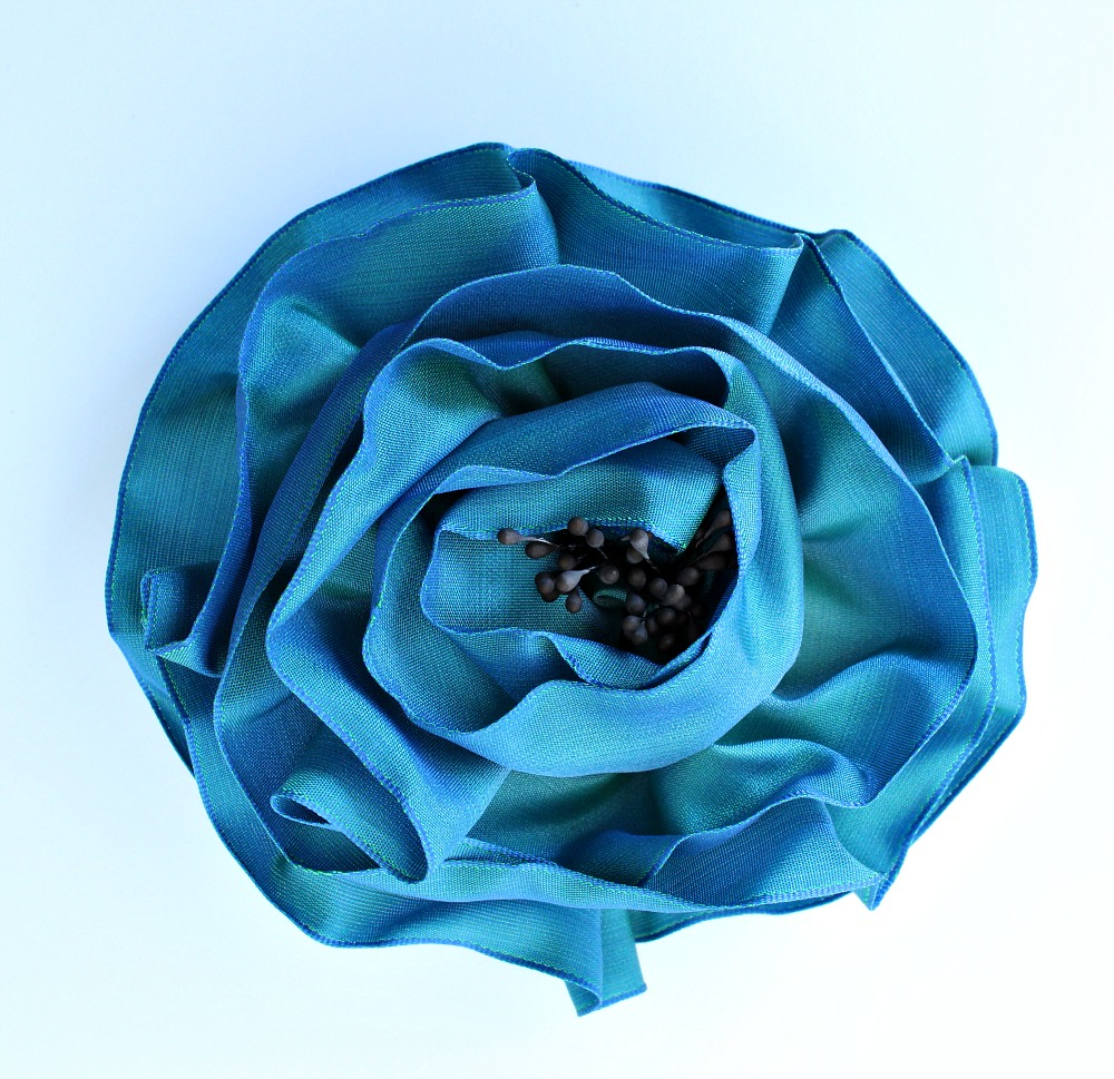 Teal ombre ribbon rose