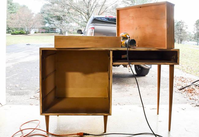 Sanding mid century modern desk