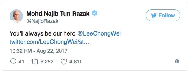 Najib Jawab Permohonan Maaf Lee Chong Wei Selepas Tersingkir Dari Kejohanan Dunia