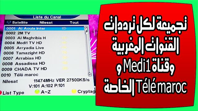 تجميعة لكل ترددات القنوات المغربية SNRT وقناة Medi1 و Télé maroc الخاصة على كل الاقمار 2019