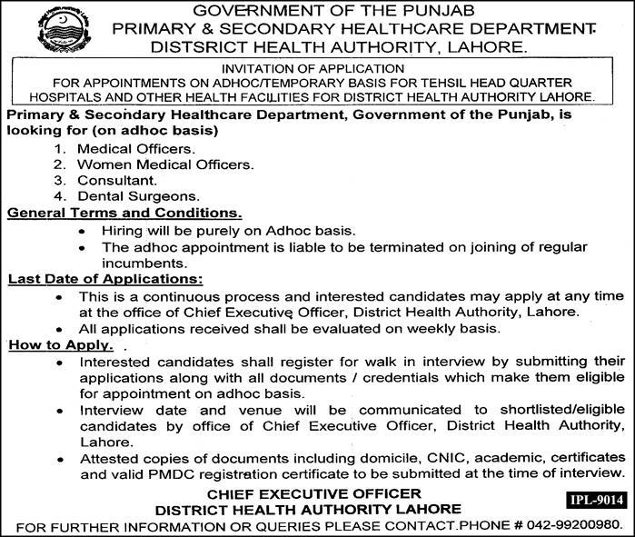Primary And Secondary Healthcare Department Jobs 2018 [ September ]