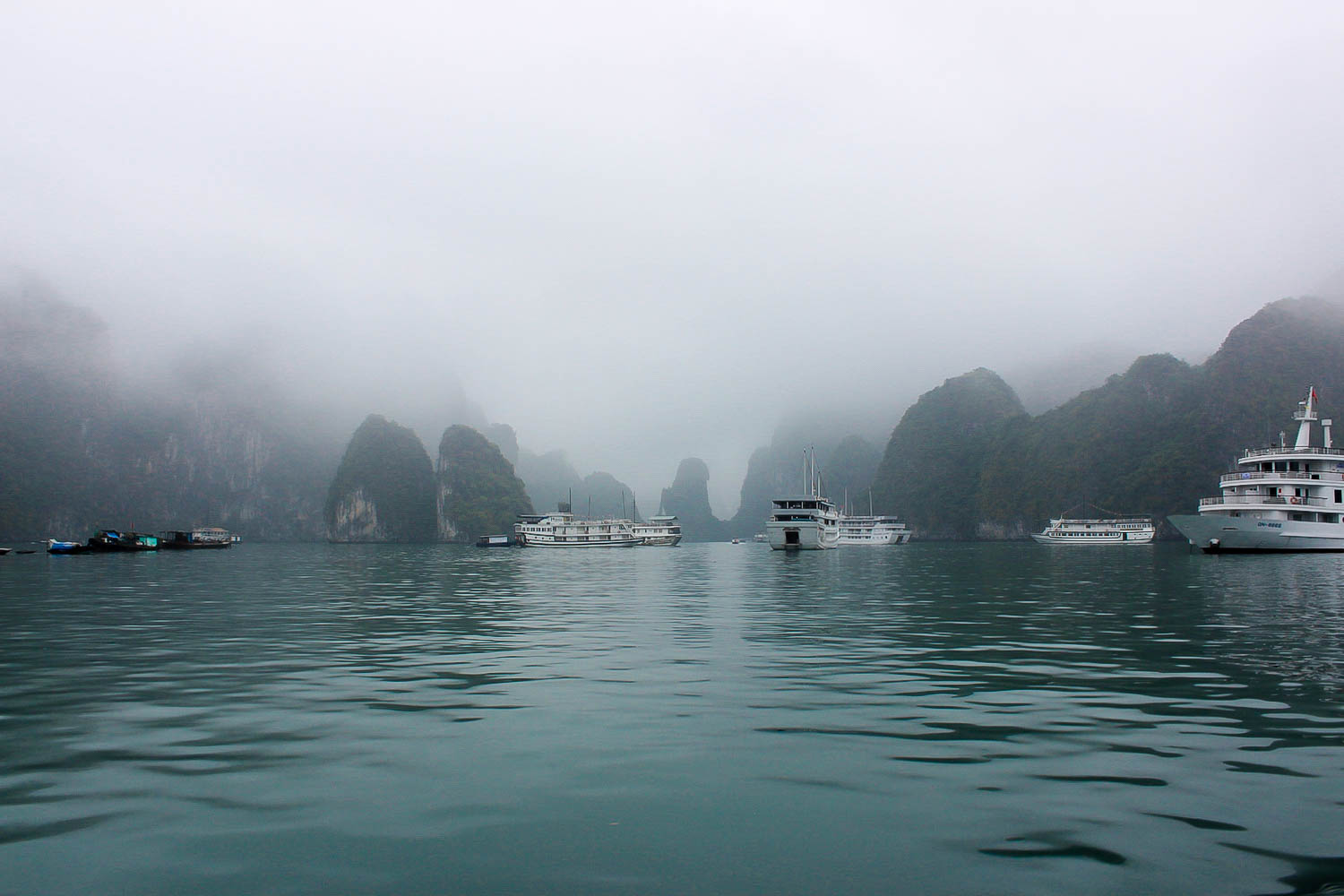 halong bay misty and foggy