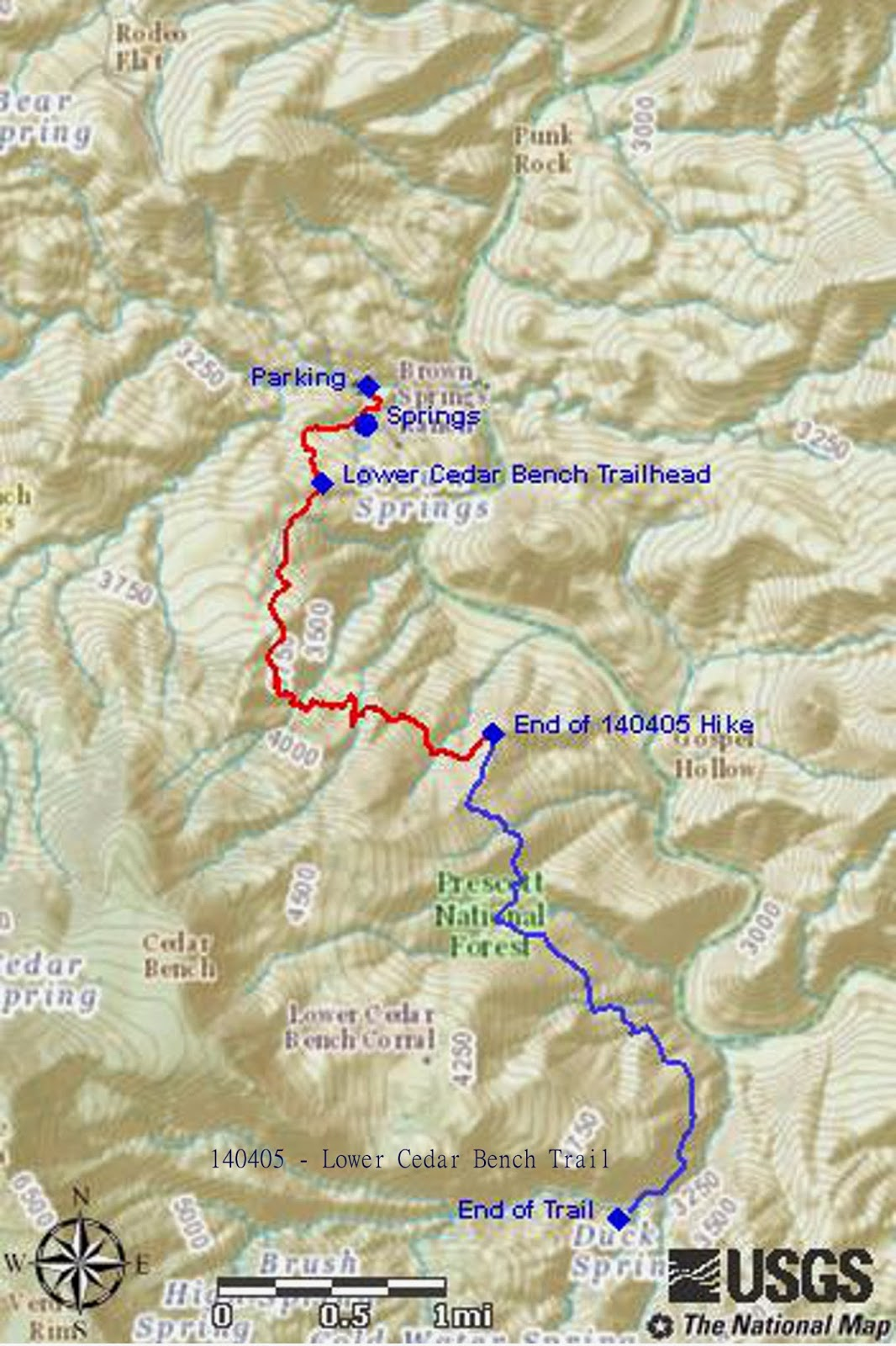 our track is shown in red on the included map below the trail itself continues for about another 2 8 miles to end near cold water creek