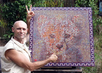 The author beside Cheetah cub mosaic at the Mosaic art studio, Headland, Alabama, May 2017