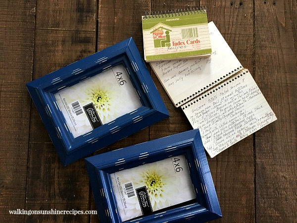 Recipe Card Project with blue frames from Walking on Sunshine