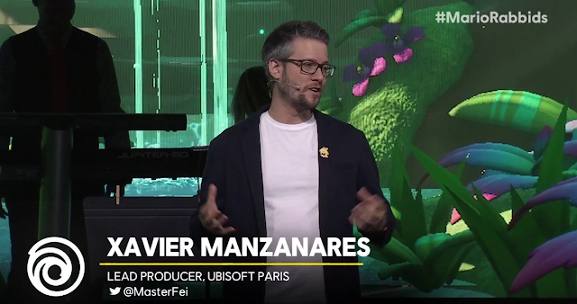 Ubisoft E3 2018 conference Mario + Rabbids Kingdom Battle Rabbid Peach jacket pin Xavier Manzanares