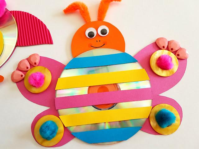 wiosna prace plastyczne - zwierzęta z płyt CD - owad z płyt CD - motylek - gąsienica - żabka - rybka - ślimak - pszczoła - ptaszek - wiosenne diy - wiosenna łąka - spring kids crafts