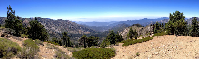 Southern panorama from Mount Islip (8250') toward the Crystal Lake Basin, Angeles National Forest
