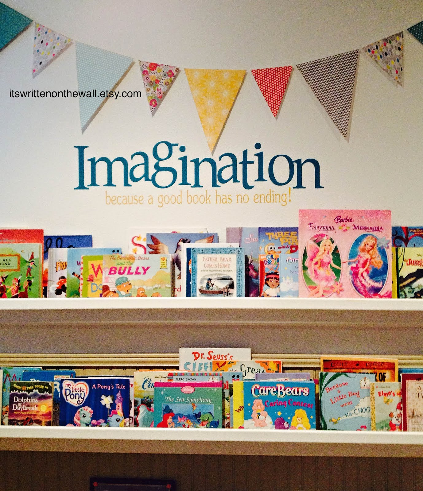Perfect Quote for the Kids Rain Gutter Book Shelves- Library
