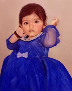 Little Girl Oil Portrait Painting In Blue Frock