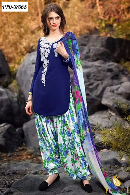 Buy Online Beautiful Casual Wear Special Blue Color Cotton Punjabi Patiala Salwar Suits Collection