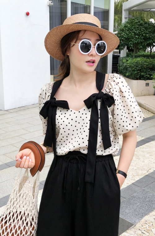 Ribbon Strap Polka Dot Blouse