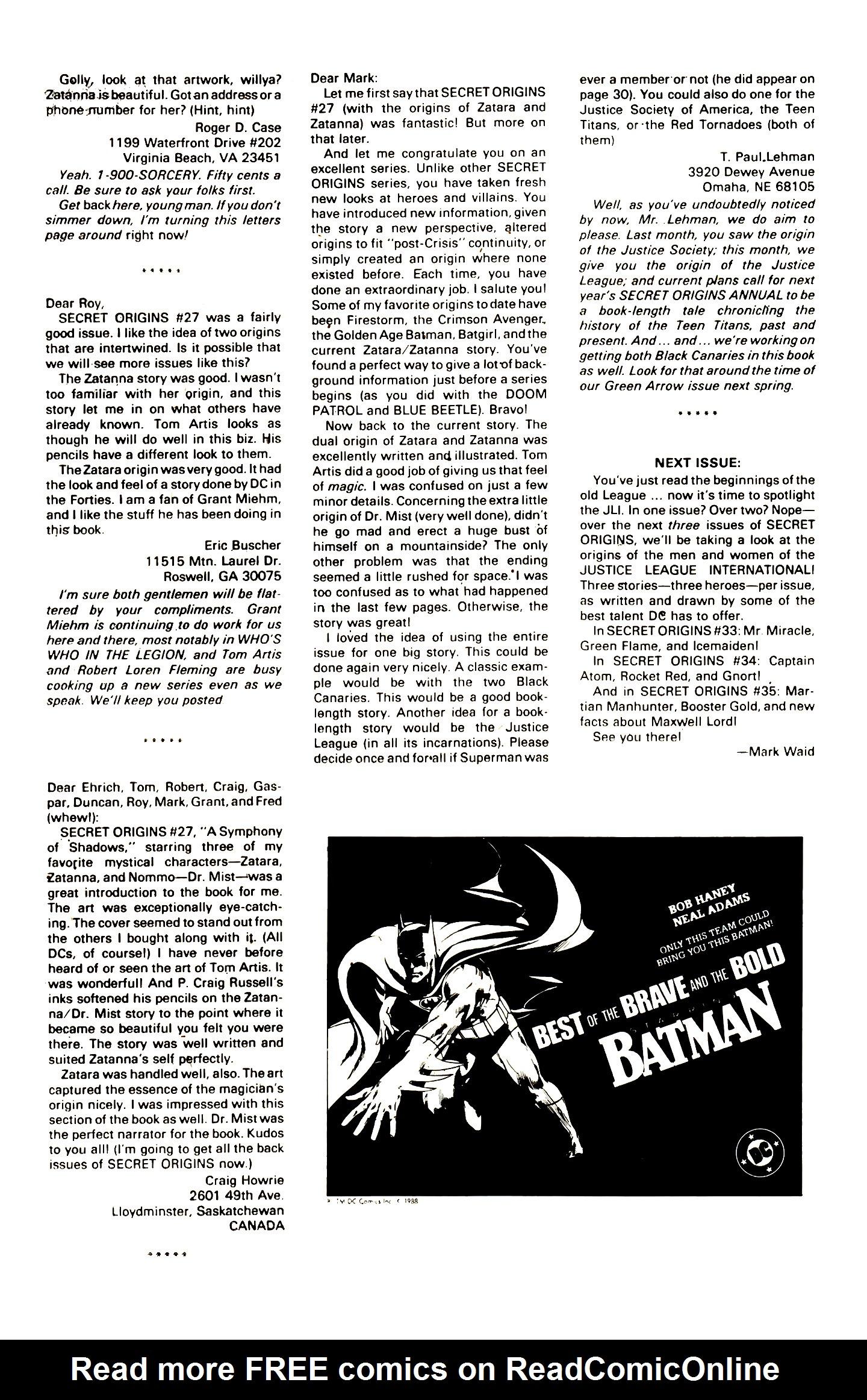 Read online Secret Origins (1986) comic -  Issue #32 - 41