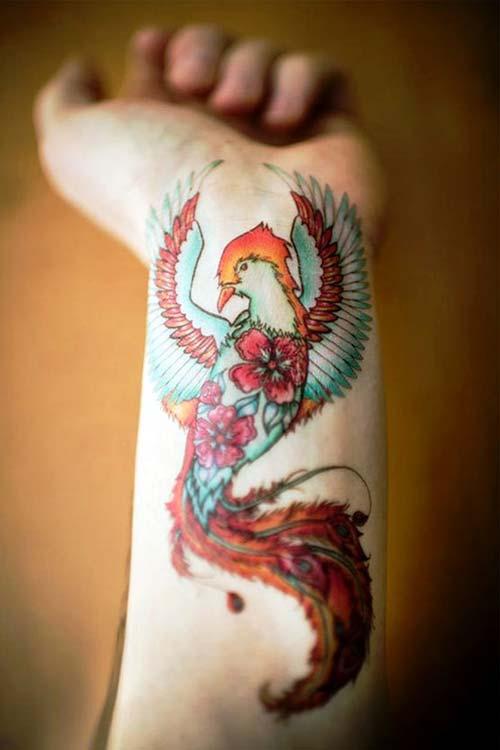 floral phoenix tattoo on wrist çiçekli anka kuşu dövmesi bilek