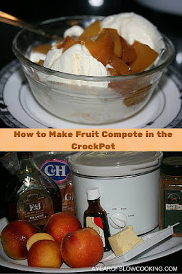 Fruit compote in the crockpot slow cooker -- this uses peaches, but you can really use any fresh or frozen fruit. I like that I can customize the sugar and you can either use or leave the Brandy.