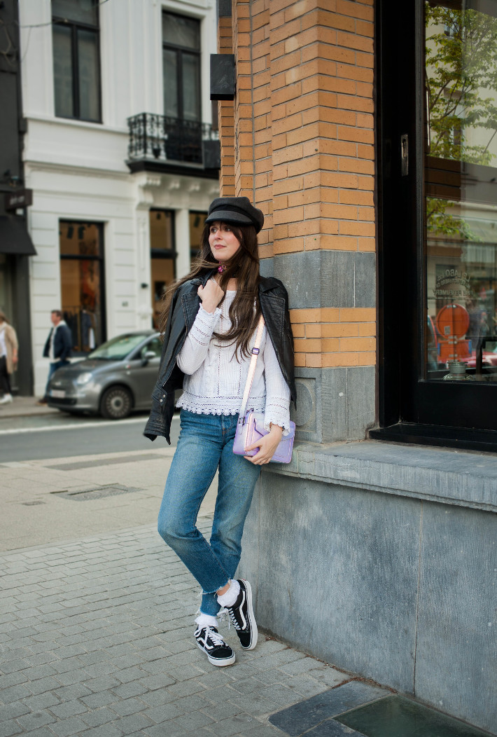 Fiddler cap, leather jacket, victorian style blouse, raw hem levi's, frilly socks and oldskool vans