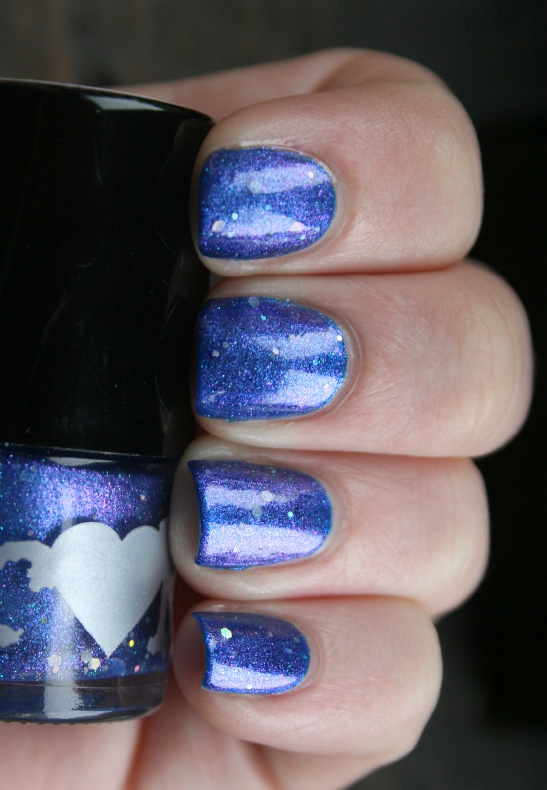Rainbow Honey Mare of the Moon over China Glaze Blue Year's Eve swatch