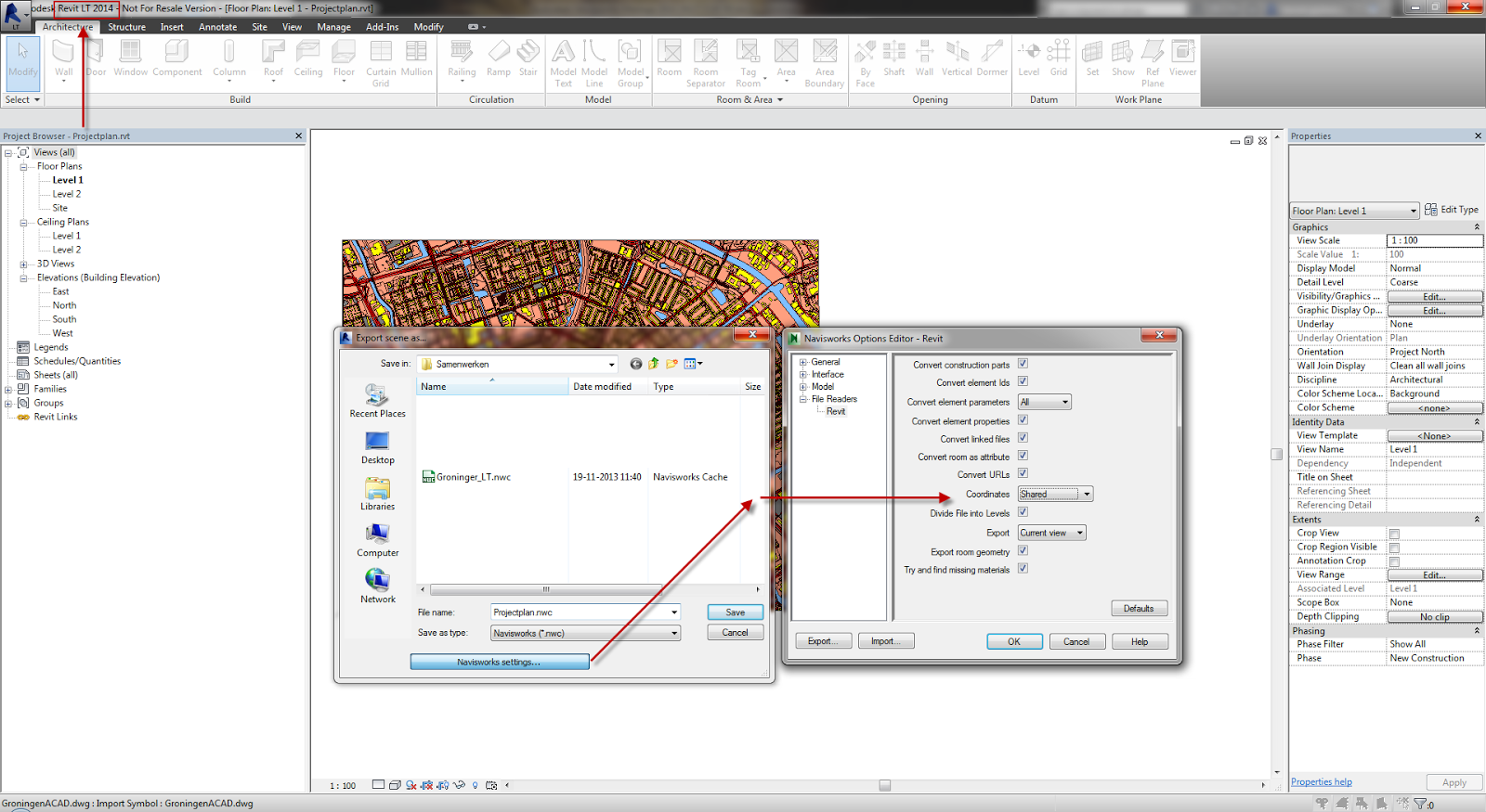 how to change coordinates in revit