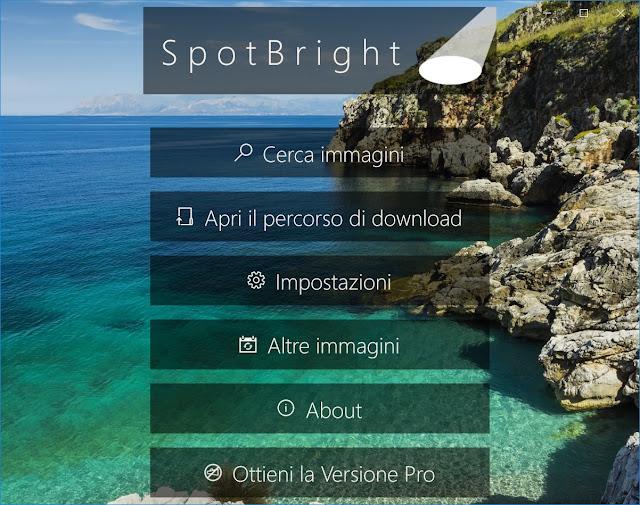 schermata principale di SpotBright