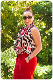 That 70s Style! Vogue 1127 Tie Neck Sleeveless Blouse & Vogue 9032 Red Trousers - Erica Bunker DIY Style!