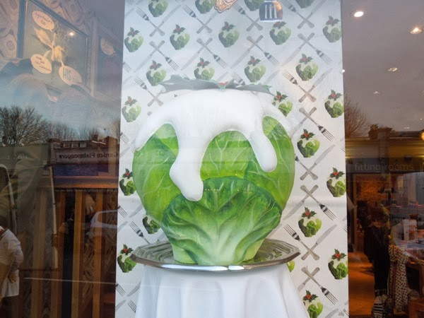 Giant brussels sprout Christmas window