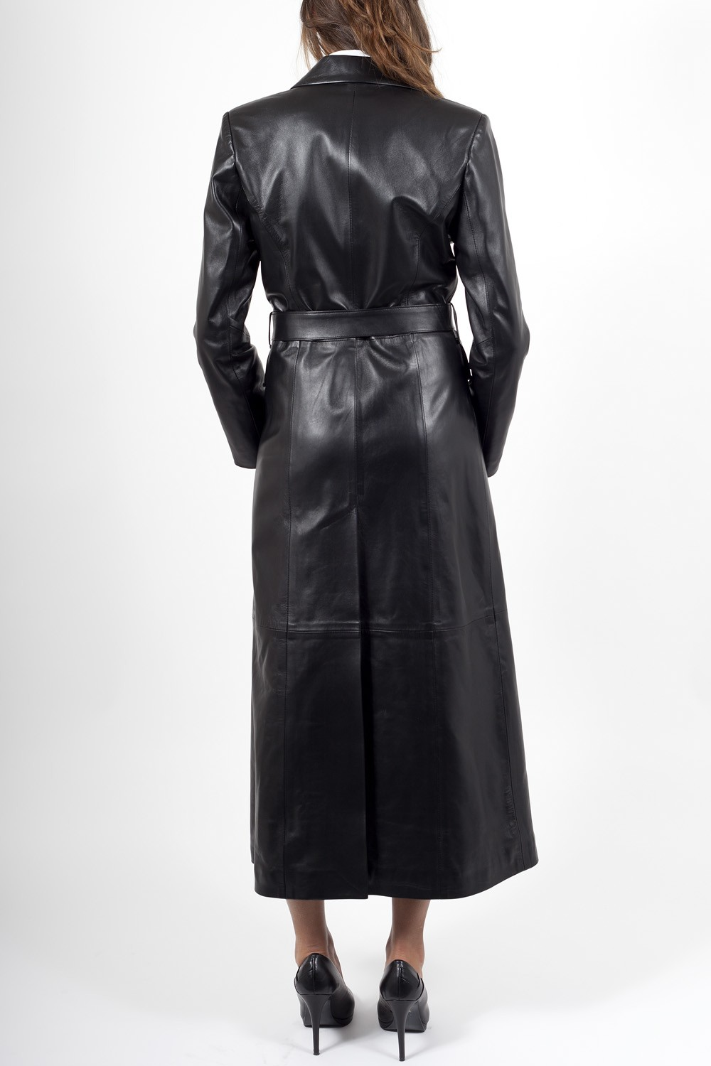 Long leather jacket for women