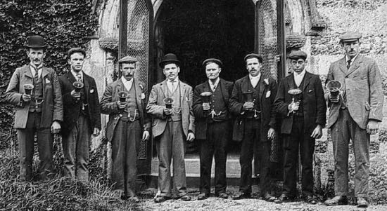 North Mymms bell ringers L-R: W. Nash, G. Harrow, C. Wren, C. Nash, B. Marsden,  ?, Nottingham, B. Smith, R. Honour Image by Dorothy Colville, part of the Images of North Mymms Collection