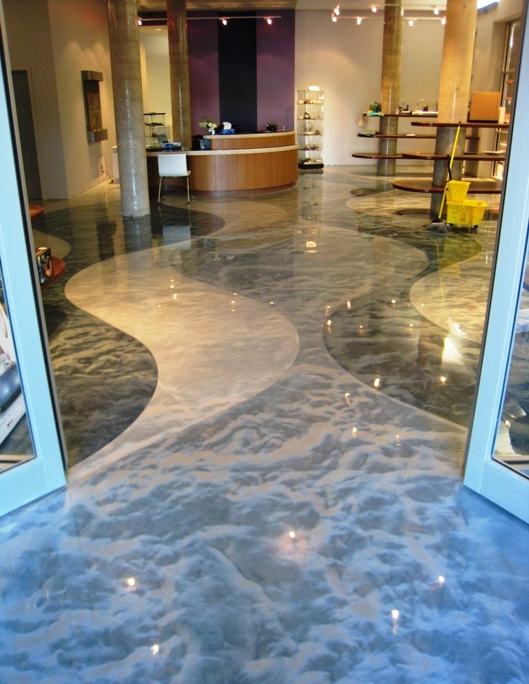 Pure metallic metallic epoxy floor coating pictures for Epoxy boden 3d