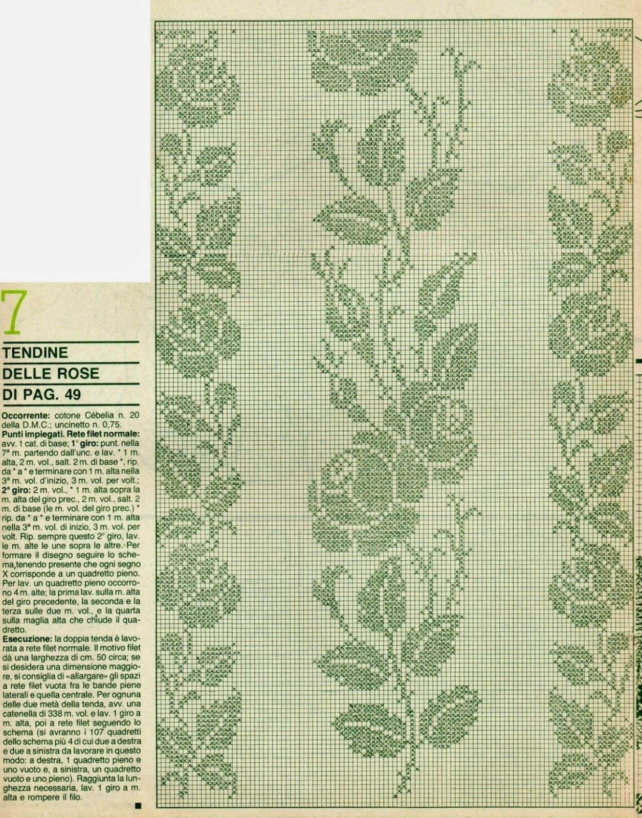 Professione donna schemi per il filet tendine in fiore - Tendine filet per bagno ...