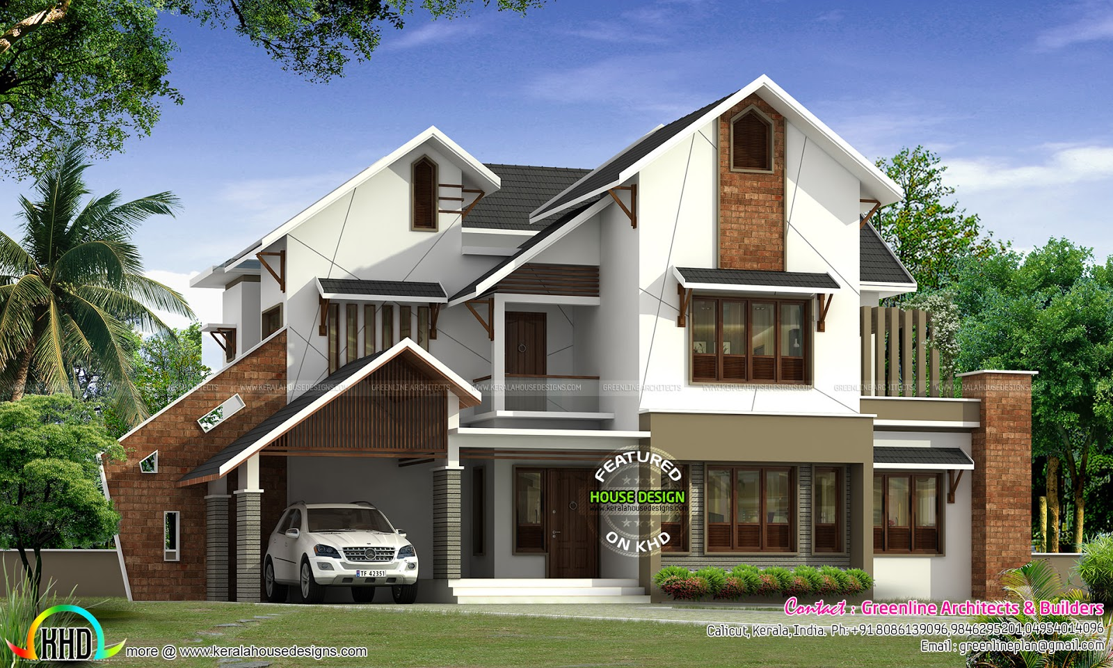 Modern slanting roof house by greenline kerala home for Cottage style roof design