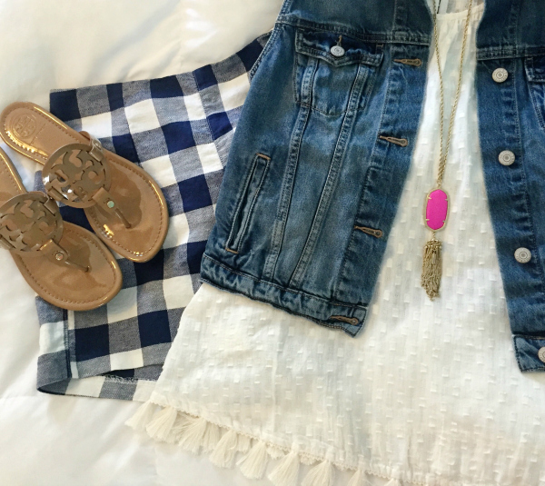 plaid shorts, denim vest, tory burch sandals