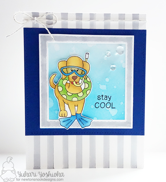 Stay Cool Scuba Gear dog card by Yukari Yoshioka |  Dog Days of Summer Stamp set by Newton's Nook Designs #newtonsnook