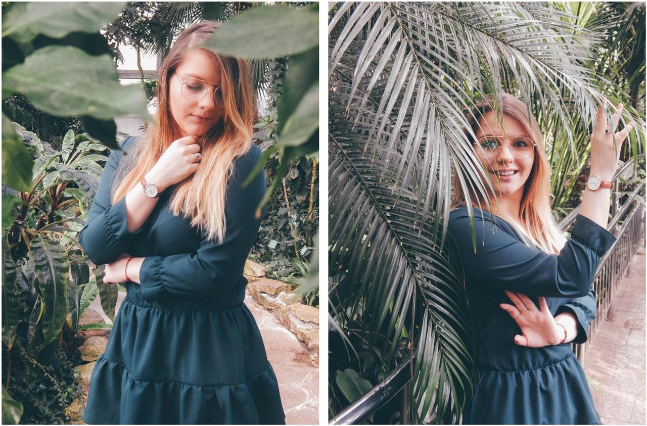 2 nagłówek mia gold zielona sukienka butelkowa zieleń z falbankami czarne muszkieterki za kolano deichmann blond fryzury modne 2018 ombre somblre daniel wellington sesja w palmiarni skórzany pasek palmy łódź