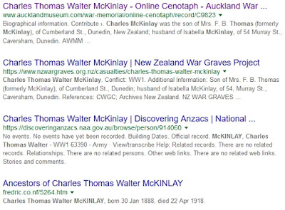 Google search results for Charles Thomas Walter McKinlay