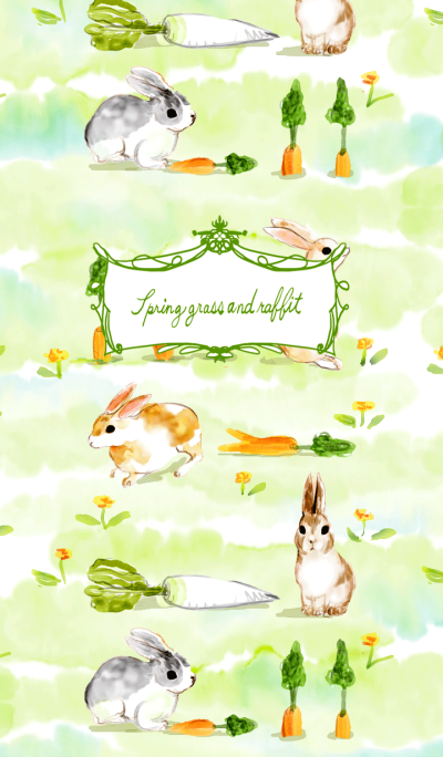 Spring grass and rabbit