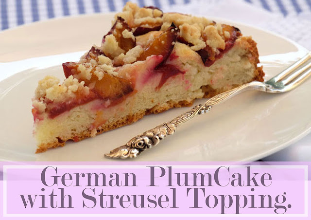 The crunchy streusel topping in plum cake