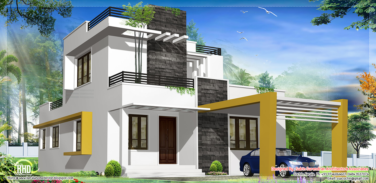 1500 beautiful modern contemporary house kerala for Contemporary house plans 2015