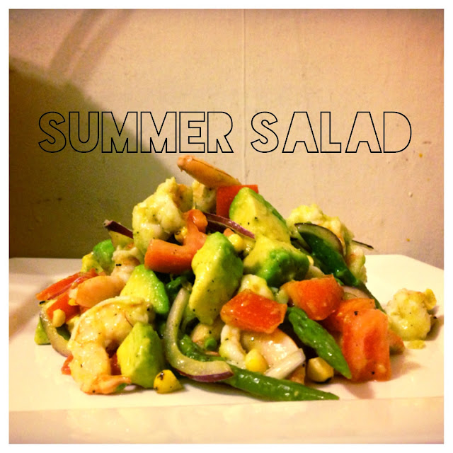 summer salad with shrimp, eating fabulously, christopher stewart