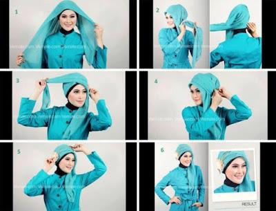 Cara Memakai Jilbab Paris Segi Empat Polos Model Turban
