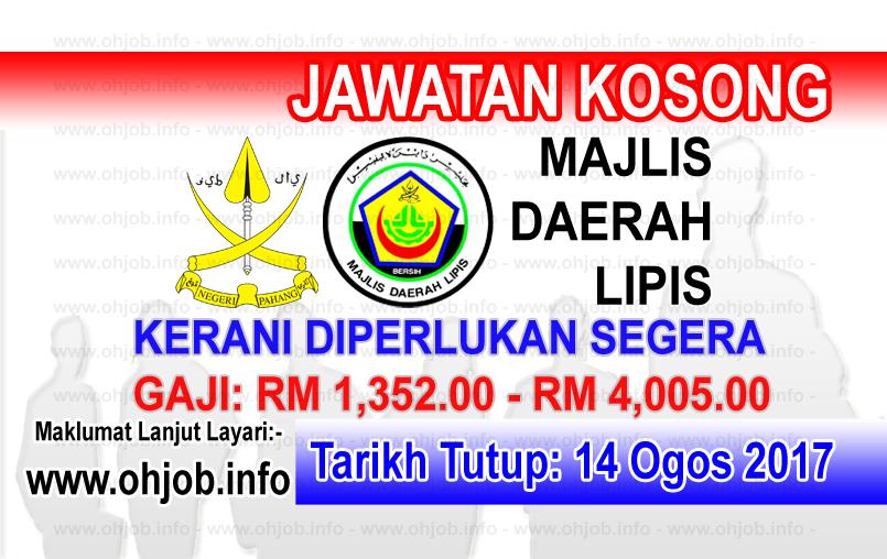 Jawatan Kerja Kosong Majlis Daerah Lipis logo www.ohjob.info ogos 2017