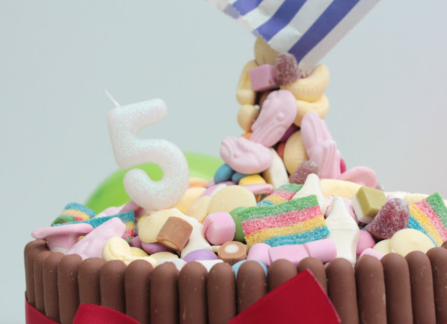 close up of pick n mix anti gravity cake