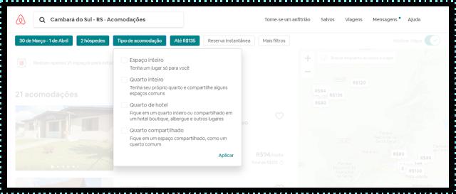 Print mostrando filtros do Airbnb