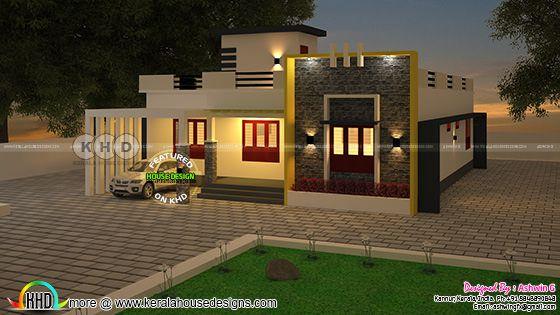 Modern single floor house rendering by Ashwin G