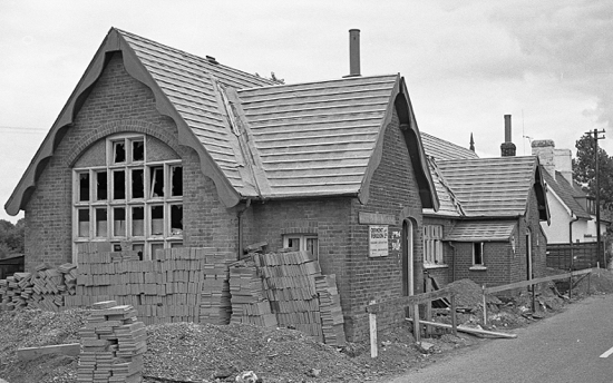 Photograph of the Water End Girls' School being converted into a house in July 1966. Image by R. Kingdon