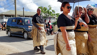 Funeral attendees wearing their Tongan clothes