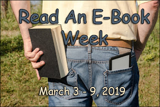 Read an Ebook Week - March 3-9, 2019 (ereader and hardback books stuffed into back pockets)