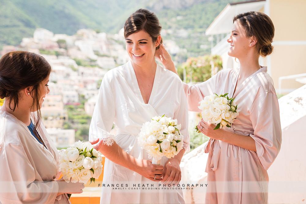 Bride with bridesmaids Hotel Marincanto Positano