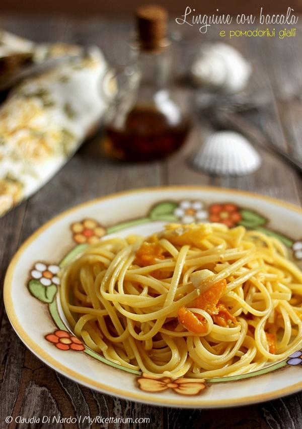 Linguine con baccalà e pomodorini gialli