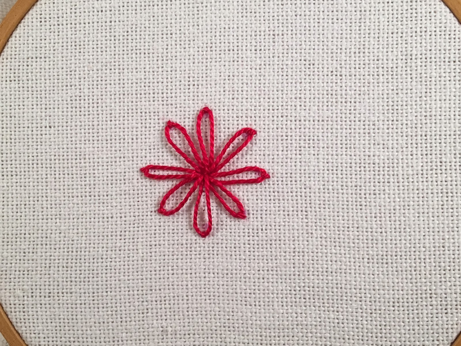 Whipped Lazy Daisy stitch, a tutorial by Michelle for Mooshiestitch Monday on Feeling Stitchy